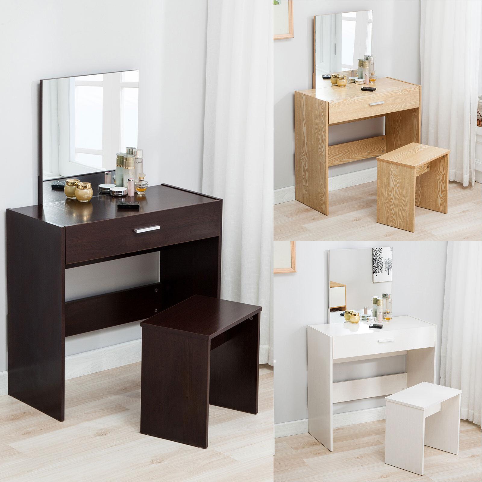 Vanity Dressing Desk Makeup Table And Stool Set Dresser W/Mirror Drawer