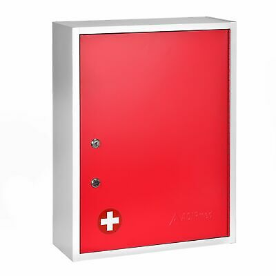 Adirmed Red Steel Large Wall Mount Dual Lock Medical Security Medicine Cabinet