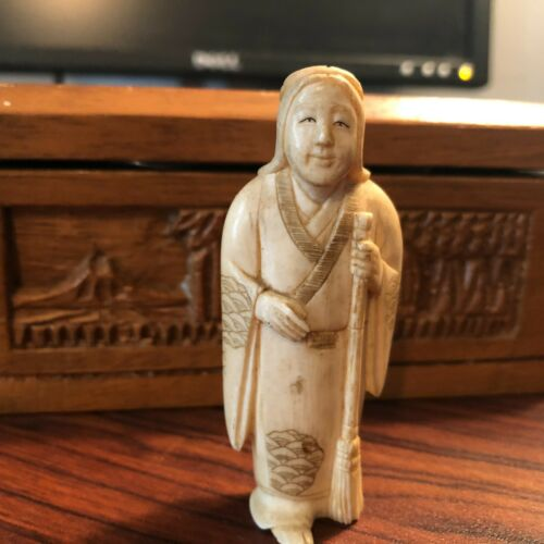 Vintage Carved Bovine Native American Indian Man/Woman Carving