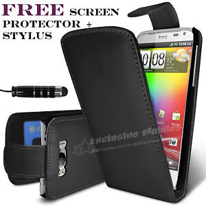 LEATHER CASE COVER POUCH & SCREEN PROTECTOR + STYLUS PEN FOR HTC SENSATION XL