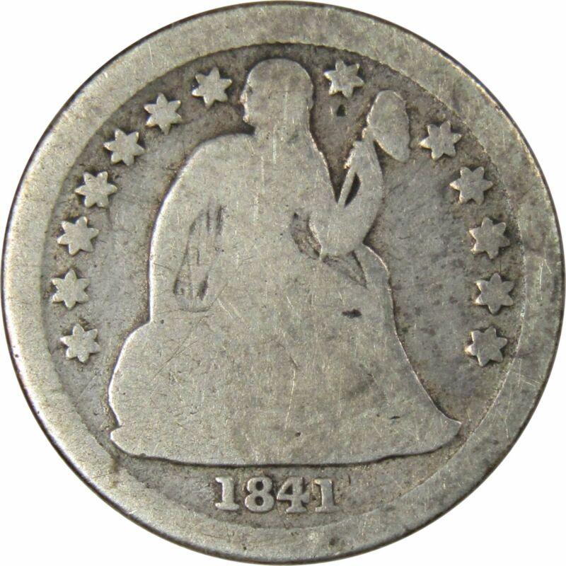 1841 O 5c Seated Liberty Silver Half Dime Coin G Good