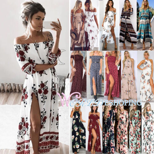 Womens Maxi Boho Floral Summer Beach Long Slit Evening Cockt