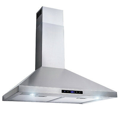 "30"" Stainless Steel Wall Mount Range Hood Touch Control Mesh Filters Stove Vent"