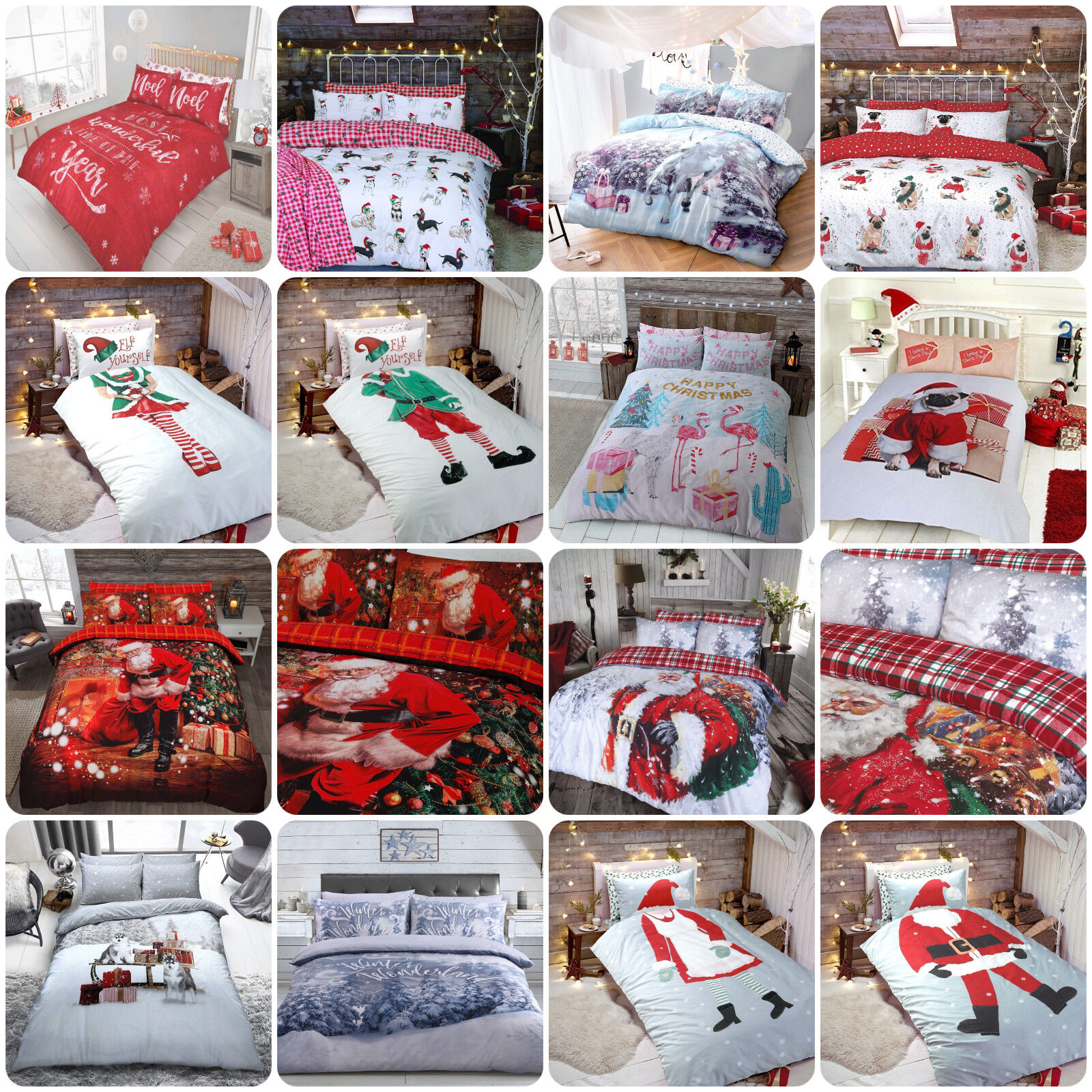 Winter & Christmas Print Duvet Quilt Cover Bedding Set & Pil