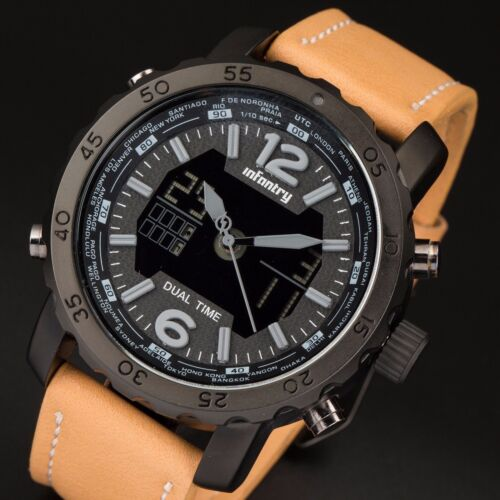 Mens Watches - INFANTRY Mens Digital Quartz Wrist Watch Chronograph Sport Army Brown Leather US