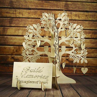 Wooden Wishes Tree & 100 Hearts Alternative Guest Book Wedding Baby Shower Favor (Wishing Tree Baby Shower)