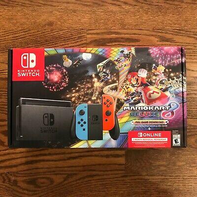 New Nintendo Switch Bundle w/ Mario Kart 8 Deluxe + 3 Month membership, In Hand