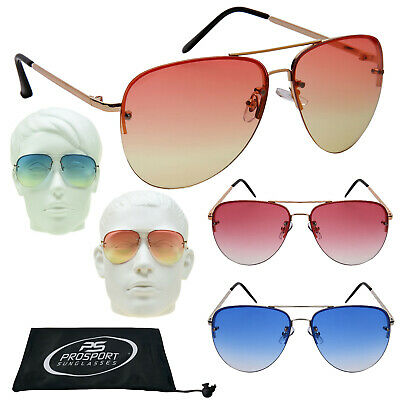 Farbe Linse Farbverlauf Aviator Sonnenbrille Rosa Blau Orange Grün Rahmenlos Neu