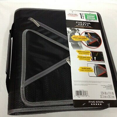 Five Star 1.5 Multi-pocket Zipper Binder - 300 Sheet Capacity Black With Grey