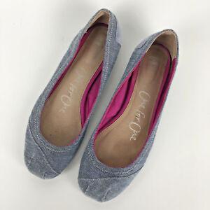 Toms Katia Size 9 Blue Denim Chambray Ballet Flats Shoes Slip On