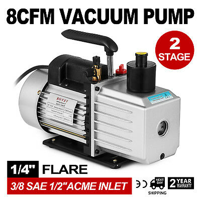 "8CFM Two-Stage Rotary Vane Vacuum Pump Oil Fill Port 1/4""flare R134a R410a, used for sale  Hebron"