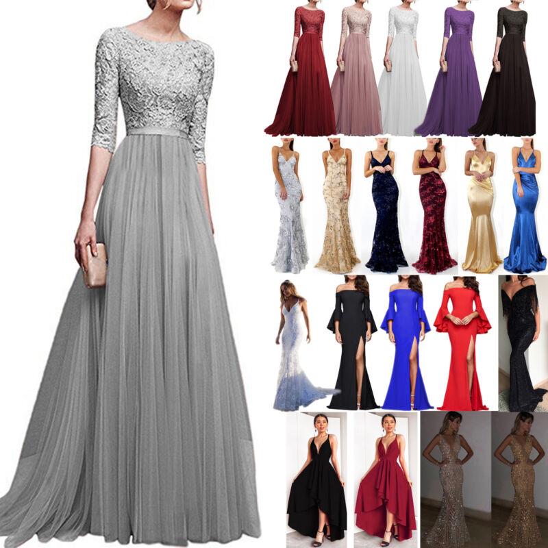 Damen Spitze Abendkleid Hochzeit Partykleid Brautjungfernkleid Maxi Ballkleid 40