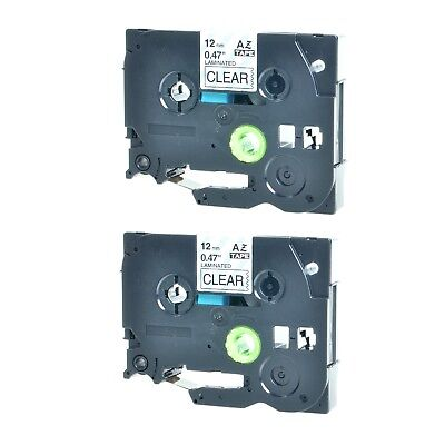 2pk For Brother P-touch Pt-1010 Black On Clear Label Tape 12 Tz-131 Tze-131