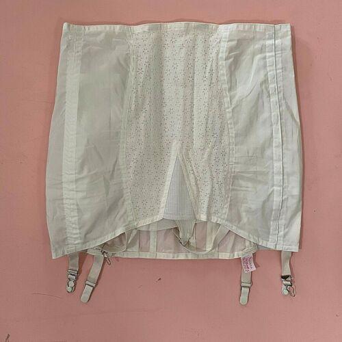 "Vintage Unworn Sears White Eyelet Corset Girdle Garters Large 34"" waist New NOS"