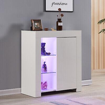 Modern High Gloss Sideboard Storage Cabinet Cupboards Furniture RGB LED Lights