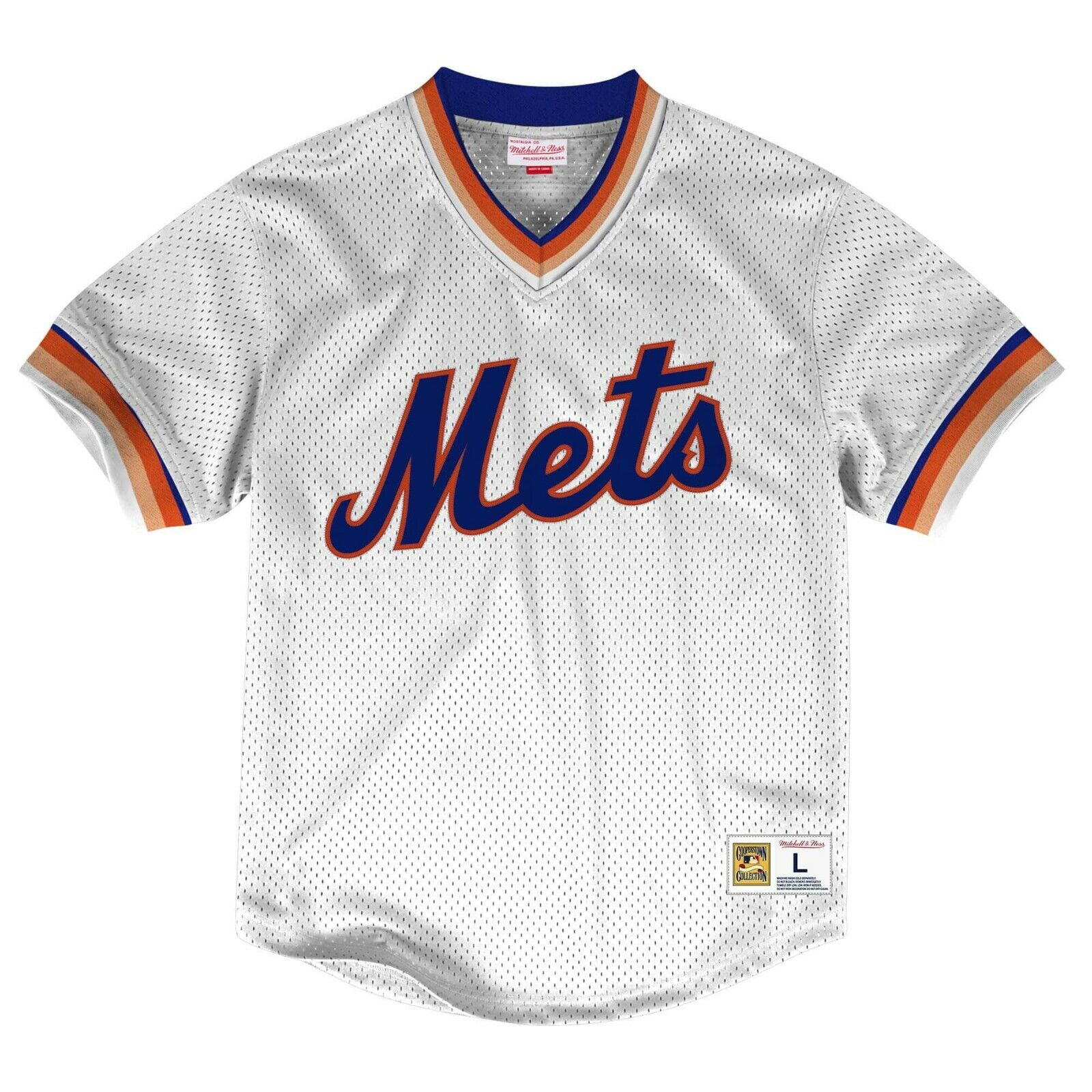 the latest f4104 acff9 Details about New MITCHELL & NESS MLB New York Mets MESH White JERSEY