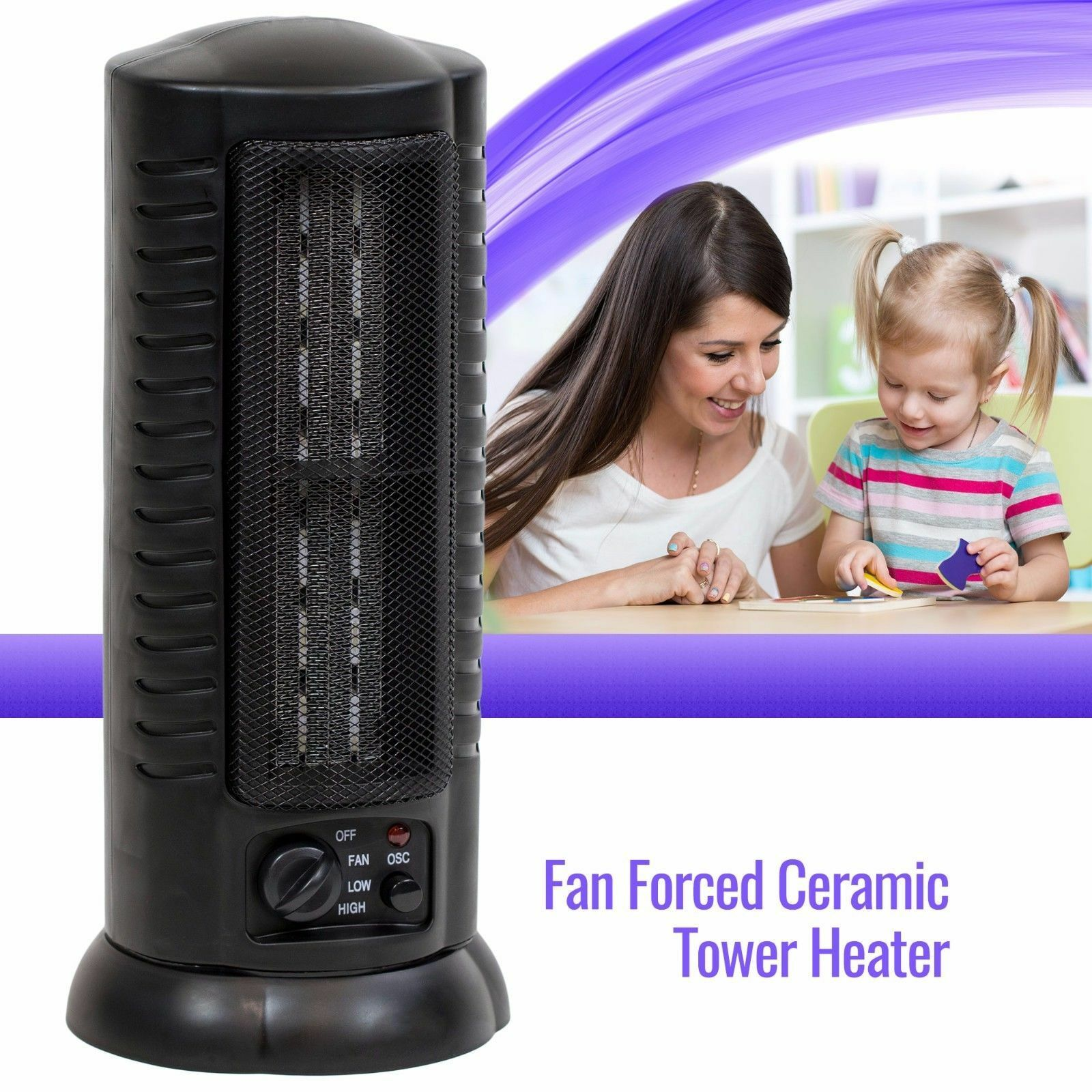 $39.99 - Portable Ceramic Space Heater Tower Electric Oscillating Home Office Room, Black
