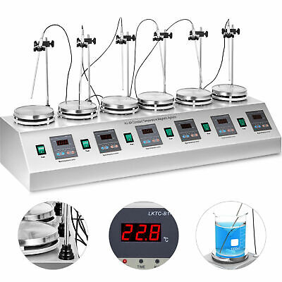 6 Heads Magnetic Stirrer Hot Plate Digital Heating Mixer Dual Controls 620w
