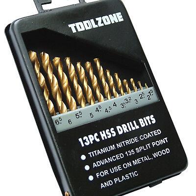 HSS Drill Bit set Titanium Coated Drill Bits 1.5 - 6.5 Drills metal wood plastic