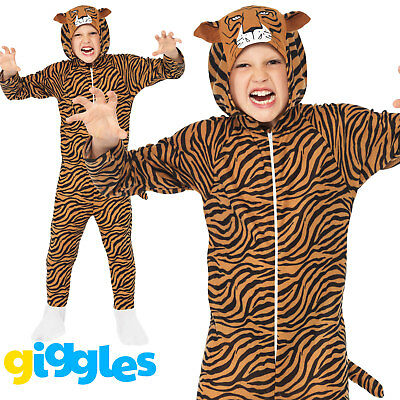 Boys/Girls Tiger Costume Animal World Book Day Week Fancy Dress Outfit - Tiger Fancy Dress Costume