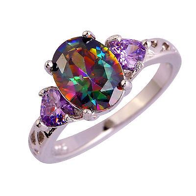 Gemstone Oval Ring - Oval & Heart Cut Rainbow Topaz Amethyst Gemstone Silver Ring Sz 6 7 8 9 10 11 12