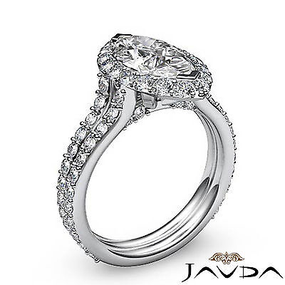 Halo Pave Set Marquise Cut Diamond Engagement Anniversary Ring GIA I SI1 2.36Ct 1
