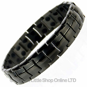 Mens Jet Black TITANIUM Magnetic Bracelet NEW 44 Magnets NdFeB Neodymium Therapy