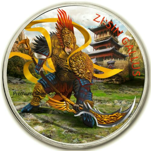 2017 South Korea Zi Sin Gallus  - 1 Ounce Pure Silver and Colorized!!