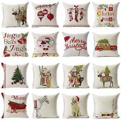 Christmas Pillow Case Cotton Linen Sofa Throw Cushion Cover Home Decor Xmas - Christmas Covers