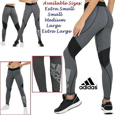 Adidas Alphaskin Leggings Womens Grey/Black Sports Gym Training Trousers UK 4-22