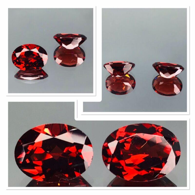 Garnet Pair Blood Red Exceptional Quality Oval Cut 3 Carat 2 Gemstones