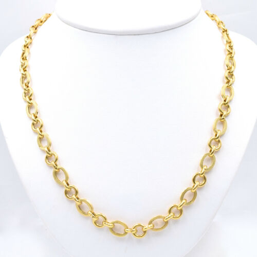 """Vintage 18k Yellow Gold Oval Link Chain, Textured Finish, 26"""" Long, 26.2 Grams"""