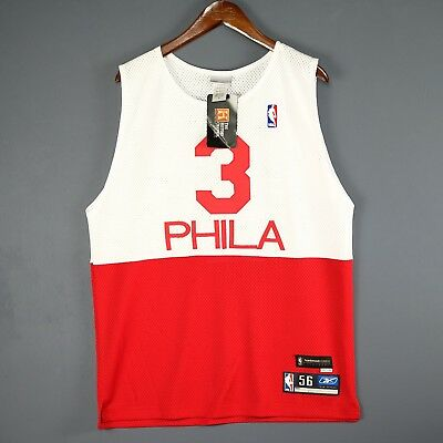 100% Authentic Allen Iverson Reebok HWC 76ers Sixers NBA Jersey Mens Size 44 L