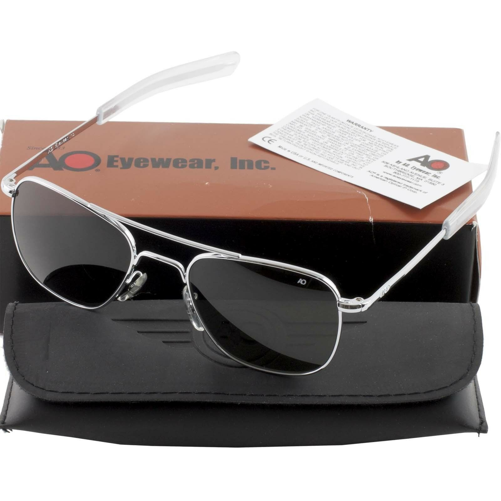 2ef16eae04 AO American Optical Military Aviator Silver Frames 52 mm Sunglasses Gray  Lens