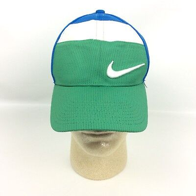 a5da8fc8d3bef Nike Golf Hat Blue Green Lightweight Mesh Stretch Fitted One Size Adjustable
