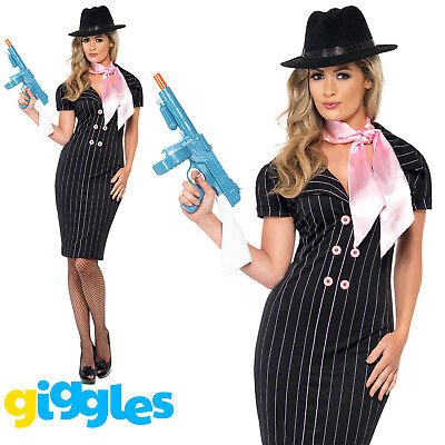Mafia Outfit For Women (Gangster Moll Costume Pinstripe Mafia Girl Womens Ladies Fancy Dress)