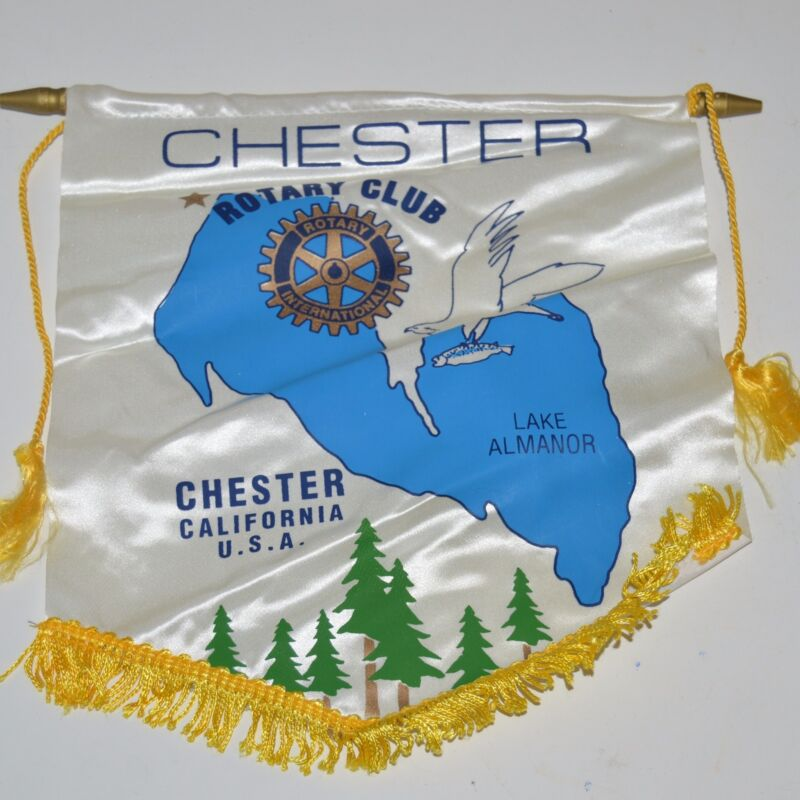 Vintage Lake Almanor Chester California  International Rotary Club Banner Flag