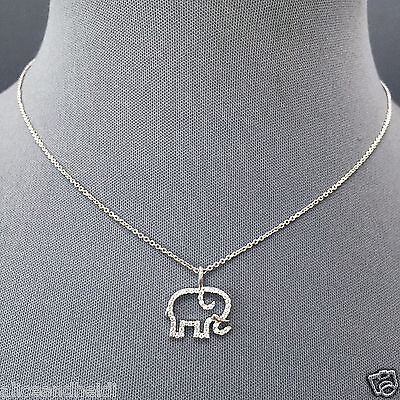- Fashionable Silver Simple Dainty Chain Cubic Zirconia Elephant Pendant Necklace