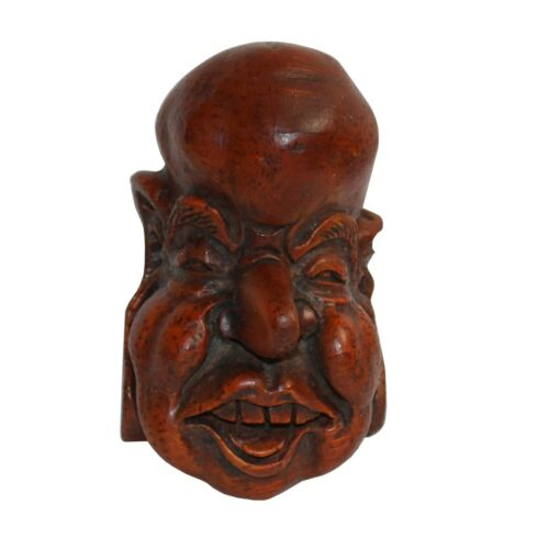 Chinese Bamboo Carved Happy Man Face Display ws300
