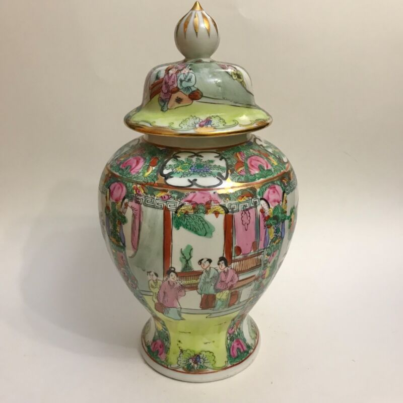 """12"""" ACF Japanese Porcelain Ware Decorated in Hong Kong Hand Painted Ginger Jar"""