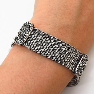 925 Sterling Vintage Marcasite Gem Multi-Strand Foxtail Link Bracelet 6 3/4