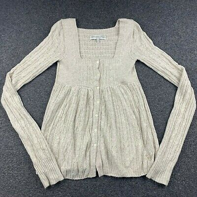 ABERCROMBIE & FITCH WOMEN SIZE MEDIUM LONG SLEEVE BEIGE SWEATER DRESS EUC