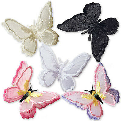 Double Layered 3D Fairy Butterfly Iron Sew on Embroidered Appliques Patches DIY