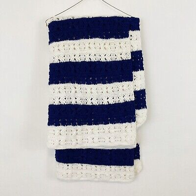 "Vintage Striped Afghan Throw Blanket Handmade 62"" X 48"" Blue White Nautical"