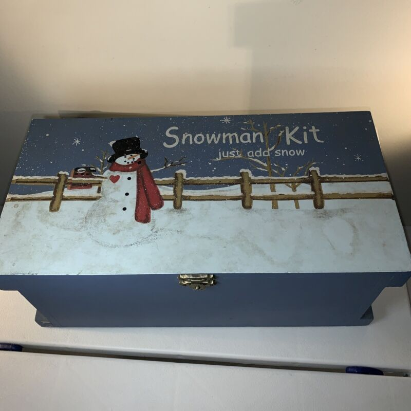 Vintage Christmas Snowman kit with Vintage wooden painted case