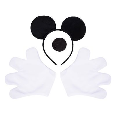 Mens Mouse Halloween Fancy Dress Costume Kit. Stag Party Outfit Gloves, Ears