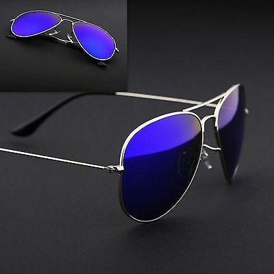 Aviator Sunglasses Vintage Mirror Lens New Mens Womens Fashion Frame Retro Blue
