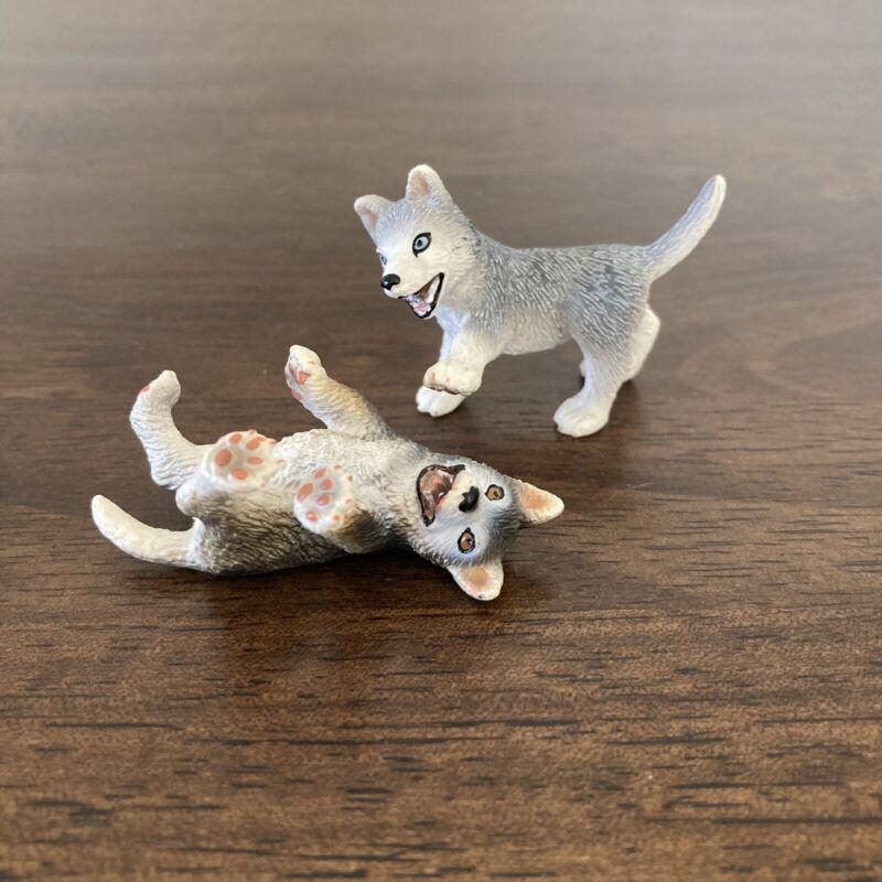 RETIRED 2008 Schleich Husky Puppy Dog Figures 16373 16374