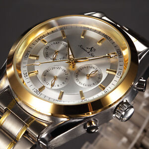 KS Mens Automatic Mechanical Skeleton Wrist Watch Date Day Gold Stainless Steel