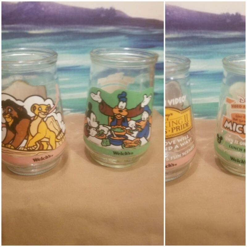 2 Vintage Welches Jelly Jars/ Glasses Disney!